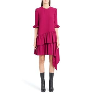 Alexander McQueen Asymmetrical Ruffle Hem Dress